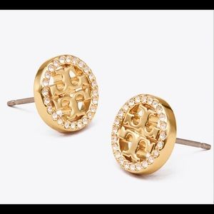 Tory Burch sparkly gold circular earrings